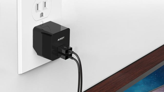 This AUKEY Dual USB Wall Charger with Foldable Plug is Just $6